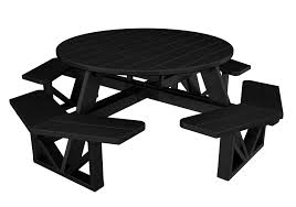 park octagon picnic table 53 recycled plastic black