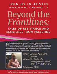 april events include palestinian arabic and a screening of beyond the frontlines