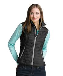 5535 | Women's Radius Quilted Vest & 5535-MODEL-BLACK/GREY Adamdwight.com