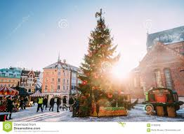 2016 Christmas Light Trade In Christmas Market On Dome Square In Riga Latvia Christmas