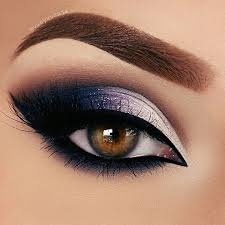 pretty dark silver midnight navy blue makeup smokey eye brows eyebrows gorgeous beautiful pro professional cool dramatic diva full glam s s