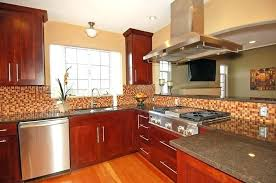 stained wood kitchen cabinets cherry kitchen cabinets modern kitchen with cherry stained cabinetosaic back