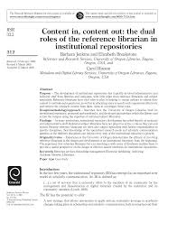Content In Content Out The Dual Roles Of The Reference Librarian