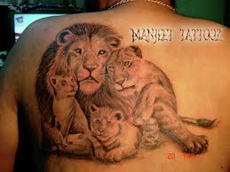 lioness and cubs tattoo.  Cubs Lion With Lioness And Cubs Tattoo For C