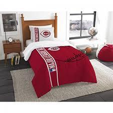 piece kids mlb central reds twin comforter set cincinnati great american ball park red black white