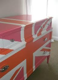 painted furniture union jack autumn vignette. pink union jack dresser clear coat painted furniture autumn vignette