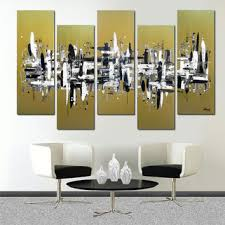 41x64 5 piece canvas art large pai on large white and gold wall art with best modern abstract metal art products on wanelo