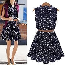 A Line Dress Pattern Inspiration Summer Dress 48 New Arrival Women Shirts Dress Cat Footprints