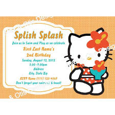 Hello Kitty Invitation Hello Kitty Pool Party Orange Custom Invitation Printable