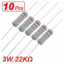 3 Watt 22K ohm <b>22KR</b> Metal Oxide Film Resistor 3W 500V 10 Pcs ...