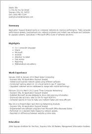 Resume Templates: Application Support Analyst