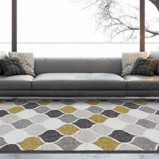 ochre yellow grey moroccan traditional rug geometric trellis living room rugs uk
