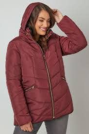 Burgundy Short Quilted Puffer Jacket With Foldaway Hood, Plus size ... & Burgundy Short Quilted Puffer Jacket With Foldaway Hood Adamdwight.com