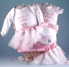 personalized baby gift basket filled with ballerina themed layette for the future prima ballerina