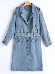 best belted on up denim trench coat denim blue s