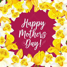 Mothers Greeting Card Happy Mothers Day Greeting Card With Flowers Bouquets Vector