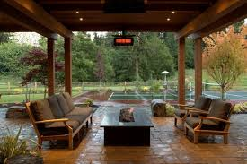 Transitional Covered Patio With Seating Area And Fire Pit Hgtv