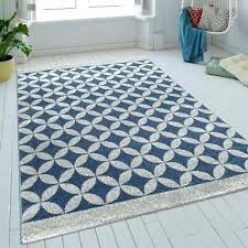 blue geometric rug modern grey circles pattern mat small large room hall carpet indigo chindi reversible blue geometric rug