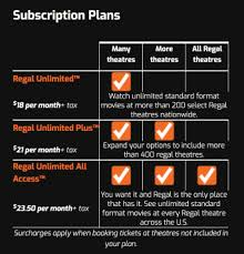 Regal Cinema Seating Chart Regal Unlimited Monthly Movie Ticket Subscription Program