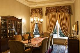 dining room curtains. Traditional Formal Dining Room With Gold Curtains And Patterned Valances, Upholstered Chairs, Large Rug I