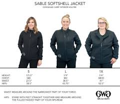 Soft Shell Jacket Size Chart Size Chart Sable Softshell Jacket Girls With Guns