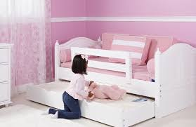 Simple Kid Bedroom with White Trundle Toddler Bed, Girl Bed Safety Guard  Rails, Girl