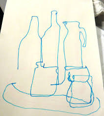 blind contour drawing still life