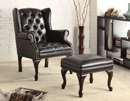 Leather Accent Chair With Ottoman Black Leather Tufted Accent Chair With Ottoman Set Decofurnish