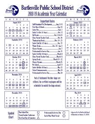 The Year Calendar Academic Year Calendars Bartlesville Public Schools
