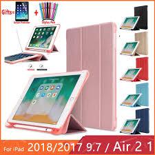 iPad 7th gen 10.2 2019 5/6th Leather Case Pencil Holder <b>Soft</b> ...