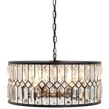 bronze iron and crystal drum chandelier