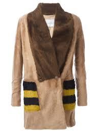 max mara striped pockets fur jacket women clothing max mara max mara