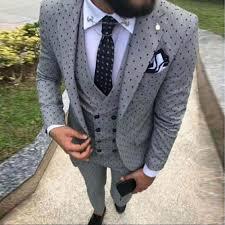 New Suit Design 2019 Man 2019 Mens Poika Dot Suit 3 Pieces Latest Coat Pant Designs Notch Lapel Tuxedos Groomsmen For Wedding Party Blazer Vest Pants