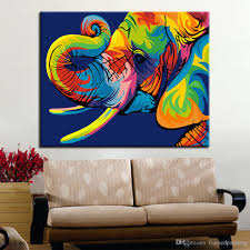framed diy digit painting by numbers handpainted colorful elephant animals oil pictures kits drawing canvas