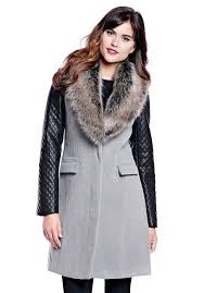grey faux wool knee length coat with faux fur collar