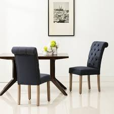 ansonia roll top tufted modern upholstered dining chair set of 2