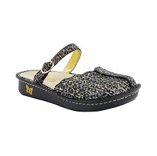 com alegria tuscany womens leopard leather slip on comfort casual clogs mules clogs