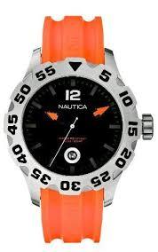 nautica n14603g mens bfd 100 date orange and black watch nautica men s n14603g bfd 100 date orange watch