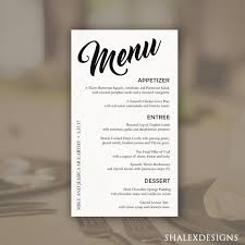 Formal Dinner Menu Template Impressive Wedding Menu Template Printable Dinner Menu Photoshop PSD Etsy