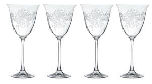 shabby chic etched wine glass