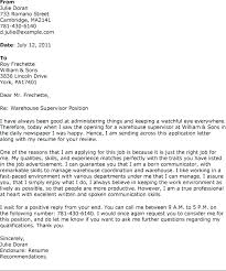 Cover Letter Sample For Warehouse Position Eddubois Com