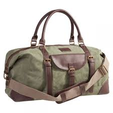 olive green monogrammed canvas duffle bag
