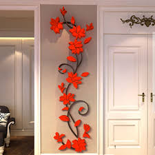 3d removable romantic flowers heart wall sticker home