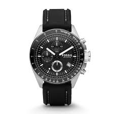 fossil gentsdecker chronograph black leather strap watch