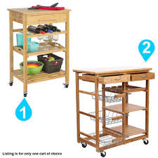 Image is loading Rolling-Bamboo-Kitchen-Storage-Cart-Rack-With-Drawer-