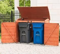 wood made garbage storage shed