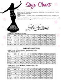 La Femme Prom Dresses Size Chart La Femme Size Chart