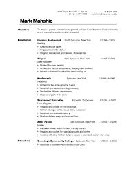 Busboy Resume Resume Work Template