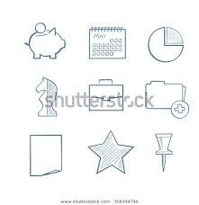 Hand Drawn Icon Set Include Pig Stock Image Download Now