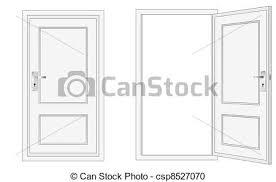 closed door clipart. Opened And Closed Door - Csp8527070 Clipart